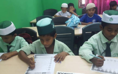 Begining of educational semister in the first  class for Rohengya